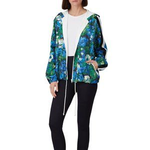 PAM AND GELA Floral Stripe Windbreaker Zip Hoodie